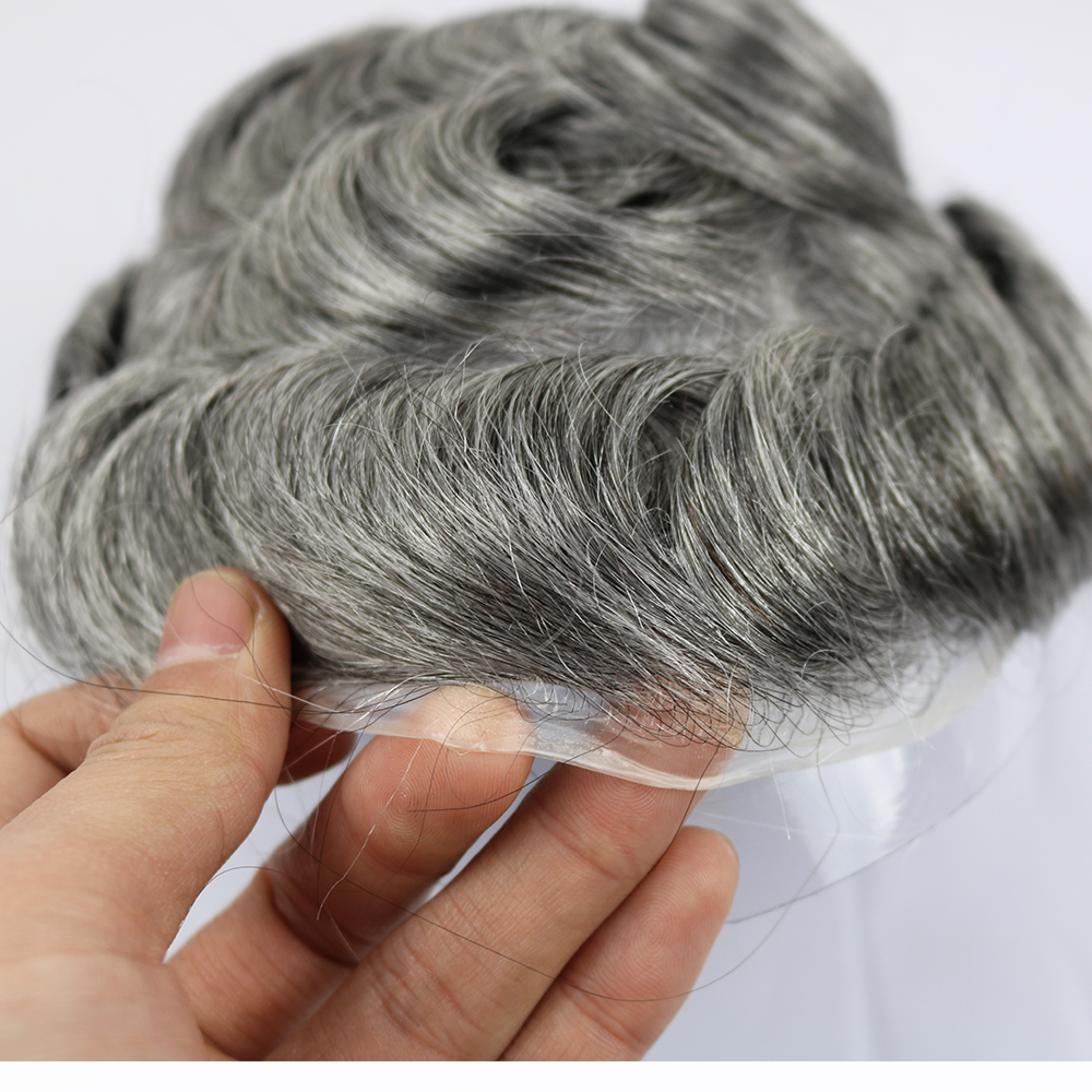 SimBeauty 100% Pure Human Hair Men's Toupee Size 8*10 Inches Thin Skin Around Wig For Men In The Stock