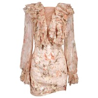 WISHBOP 100 Silk NEW 2017 Luxury Runway Bowerbird Teased Blouse Apricot Floral Print Ruffled Lace Up