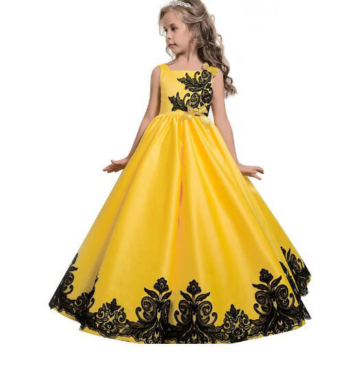 Girls lace embroidery flower elegant graduation marriage wedding ...