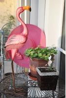 High 60cm,Villa Garden Decoration Housewarming Gift Pink metal Flamingo Love Bird Decoration Garden Report