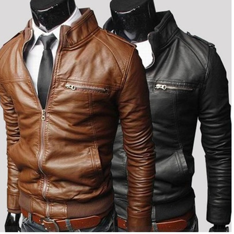Autumn Winter Men's Jacket Pu Zippers Slim Cuting Jackets Plus Size MCA0001