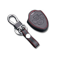 BBQ@FUKA Leather Remote Key Chain Holder Case Cover Fob Fit for Camry RAV4 Corolla 3 Bottons Car