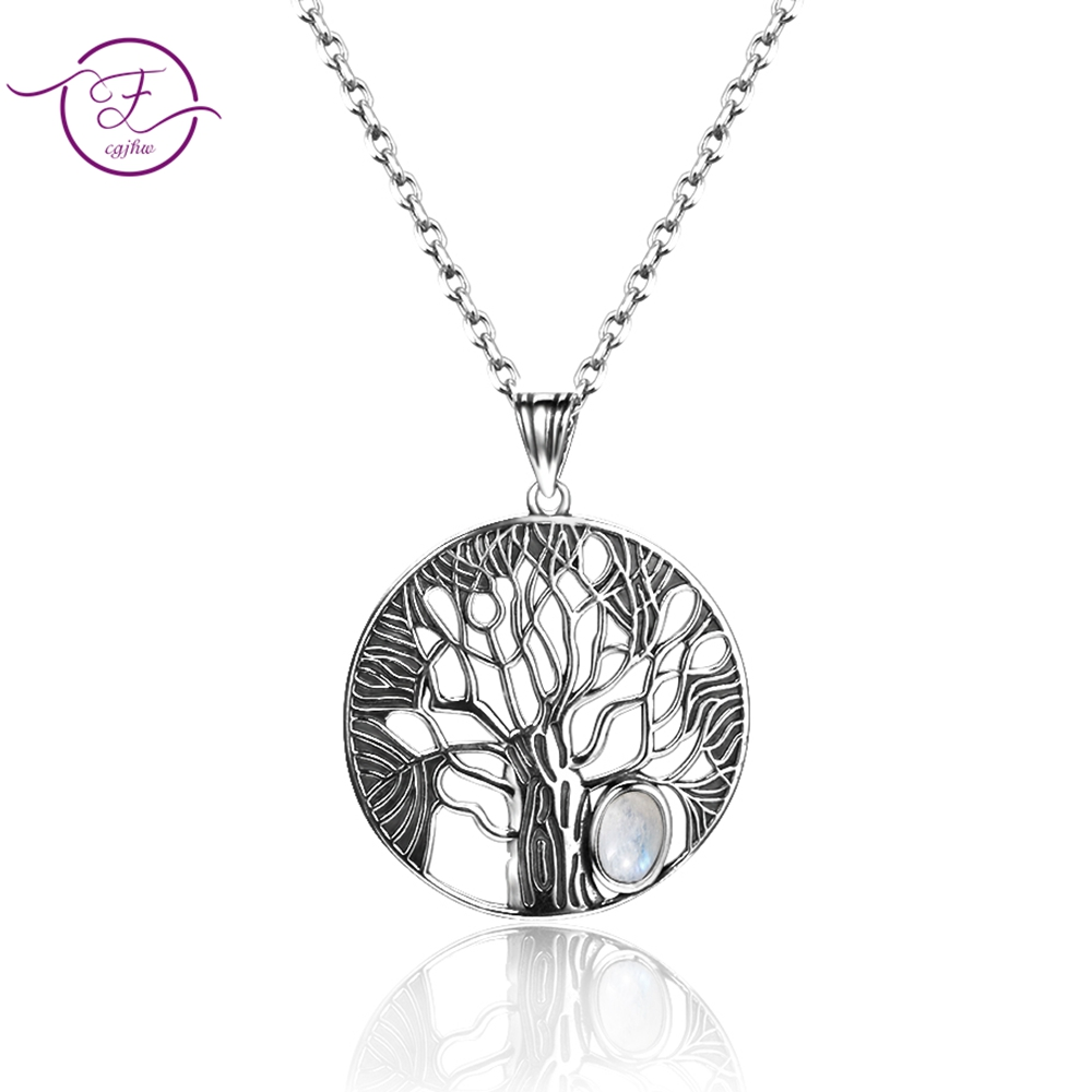Natural Moonstone Life Tree Pendant  Necklace For Women Fine Sterling Silver 925 Jewelry Daily Life Birthday Anniversary GiftNatural Moonstone Life Tree Pendant  Necklace For Women Fine Sterling Silver 925 Jewelry Daily Life Birthday Anniversary Gift