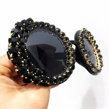 2018 Sunglasses Women Oversize  Round Vintage Luxury Black Rhinestone Sun Glasses Female Shades Oculos De Sol