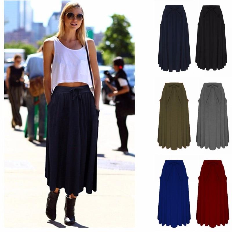 2018 ZANZEA Summer Women Long Skirt Ladies Elastic High Waist Pockets Loose Pleated Mid-calf Skirts Solid Casual Faldas Saia