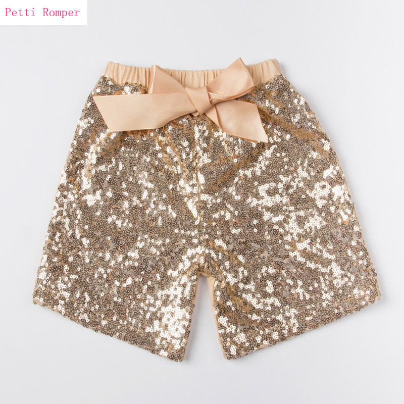Hot Selling Baby Gold Sequin Shorts Boys Girls Summer Short Pants Sparkly Toddler Infant Children Costumes Baby Girl Clothes