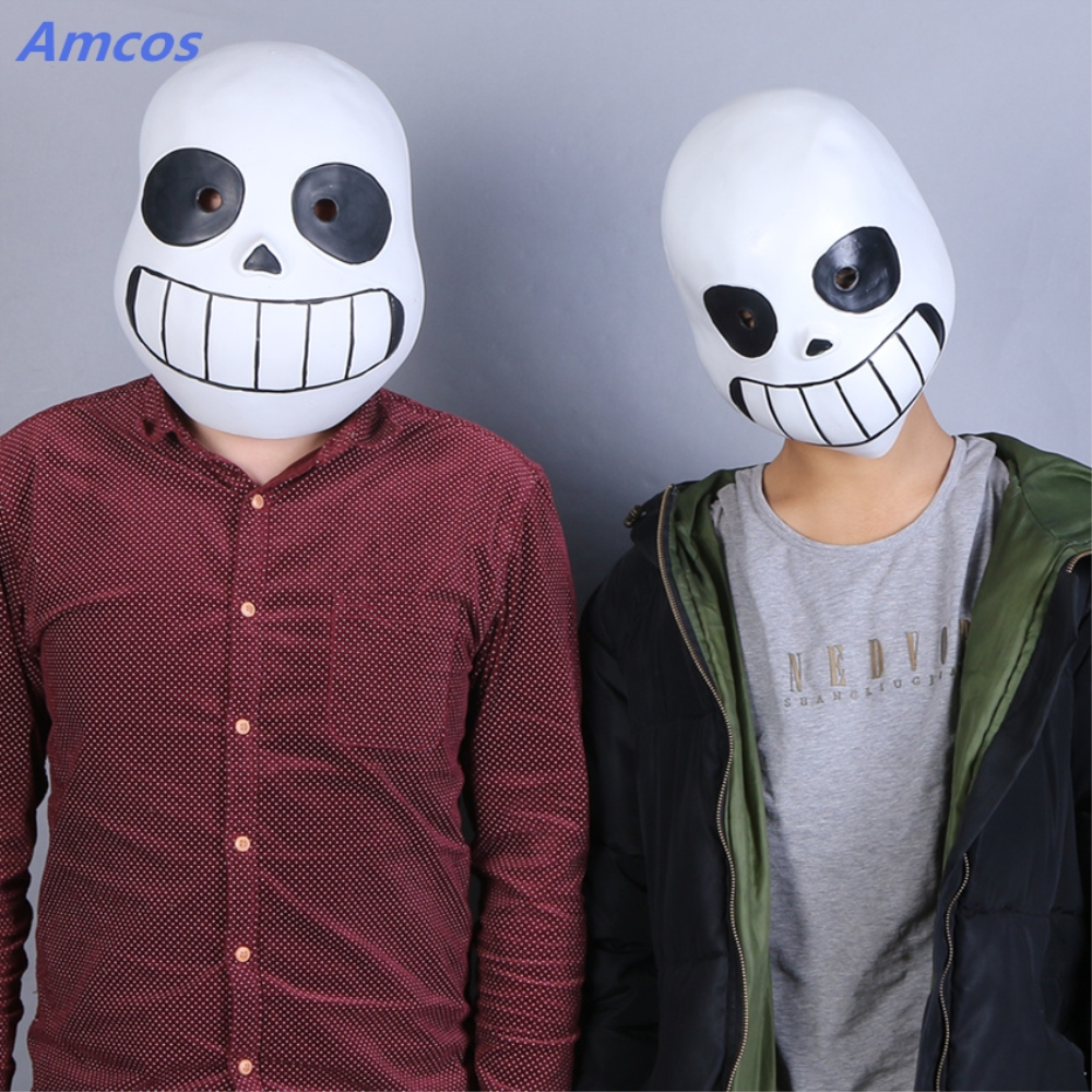 Full Head Undertale Sans Latex Cosplay Funny White Soft Masks Helmets Halloween Christmas Holiday Props For Adult Child Mask