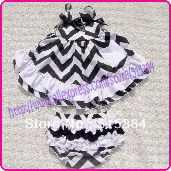 3 компл./лот девушка новорожденный с оборками промах комплект милый малыш девушка одежда черный белый шеврон комплект одежды для детского