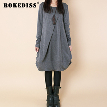 4 Colors Winter Women Dress Long Sleeve Tops Loose Casual Dresses Vestidos Femininos Women's Clothing Folds A-Line TG214
