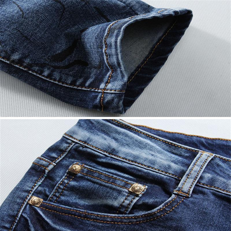 2018 New High Quality Blue Print Jeans Mens, Small Stretch Men Jeans, Fashion Slim Male Soft Denim Pants