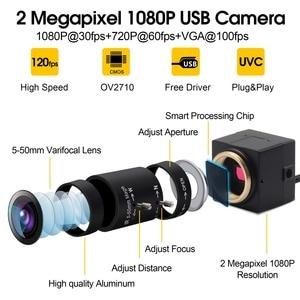 Image 2 - 1080P USB Webcam 5 50mm CS Mount Varifocus lens CMOS OV2710 MJPEG 30fps/60fps/120fps USB Camera chamber for Computer PC Laptops