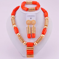 Nigerian Wedding African Beads Jewelry Set Orange Coral Necklace for Bride CJS02