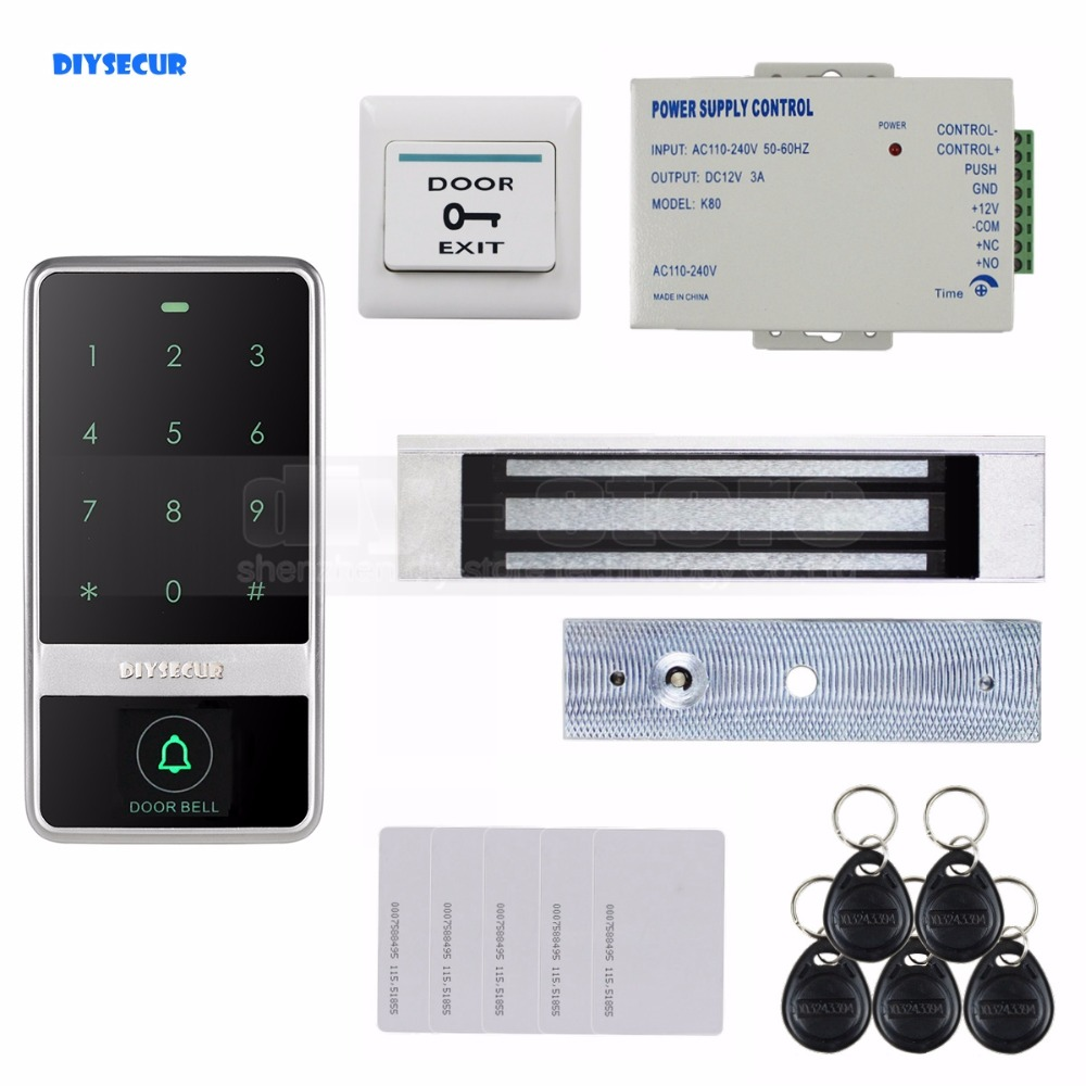DIYSECUR 8000 User 125KHz RFID Reader Password Touch Keypad Door Access Control Security System Kit C60 diysecur touch panel rfid reader password keypad door access control security system kit 180kg 350lb magnetic lock 8000 users