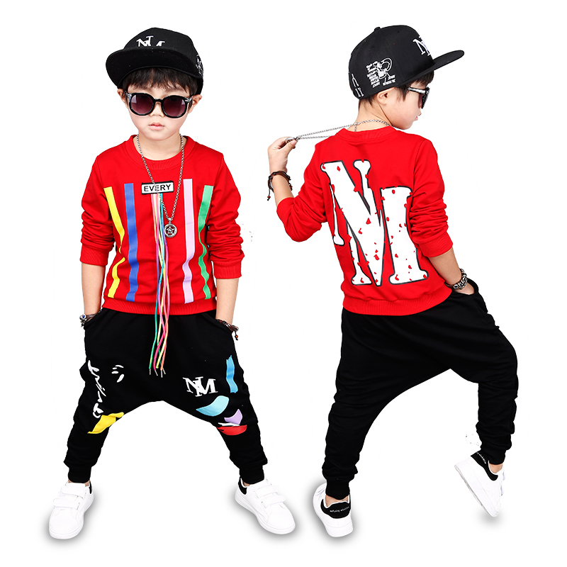 3 Bibihou new spring autumn kids clothes sets children 2 pcs Hip hop suit Shirt coat + Harem pants baby boys sport suits Color bar