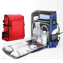 Kit de primeros auxilios para exteriores, bolsa de mensajero cruzada impermeable de nailon rojo para deportes de gran capacidad, bolsa médica de emergencia para viaje familiar DJJB038