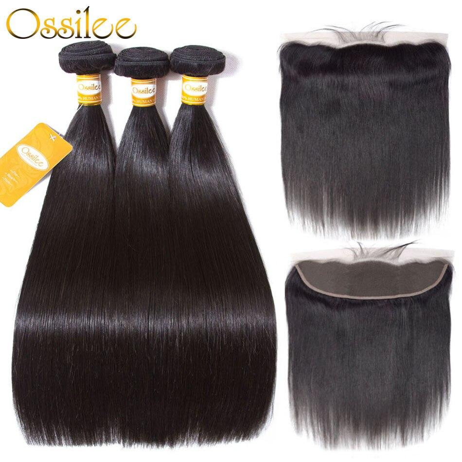 Ossilee paquetes con Frontal paquetes de pelo recto con Frontal paquetes de cabello humano brasileño con cierre Frontal del pelo Remy
