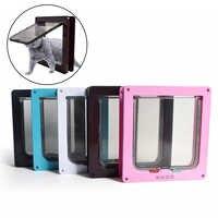 4 portas lockable do gato do cão do gato do cão do animal de estimação portas do cão do filhote de cachorro porta segura com fechadura da aleta produtos de segurança do animal de estimação s/m/l