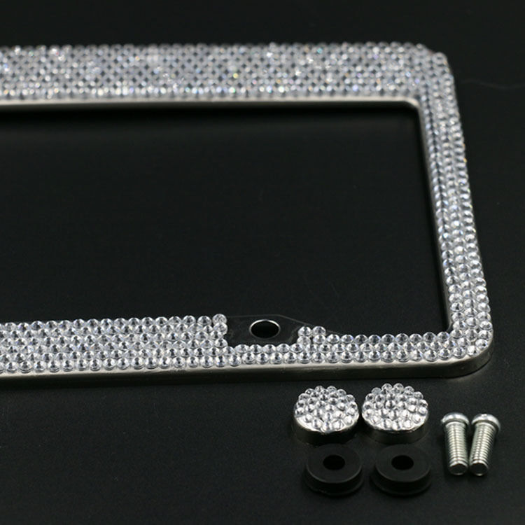silver diamond bling glitter crystal rhinestone metal us car license plate frame