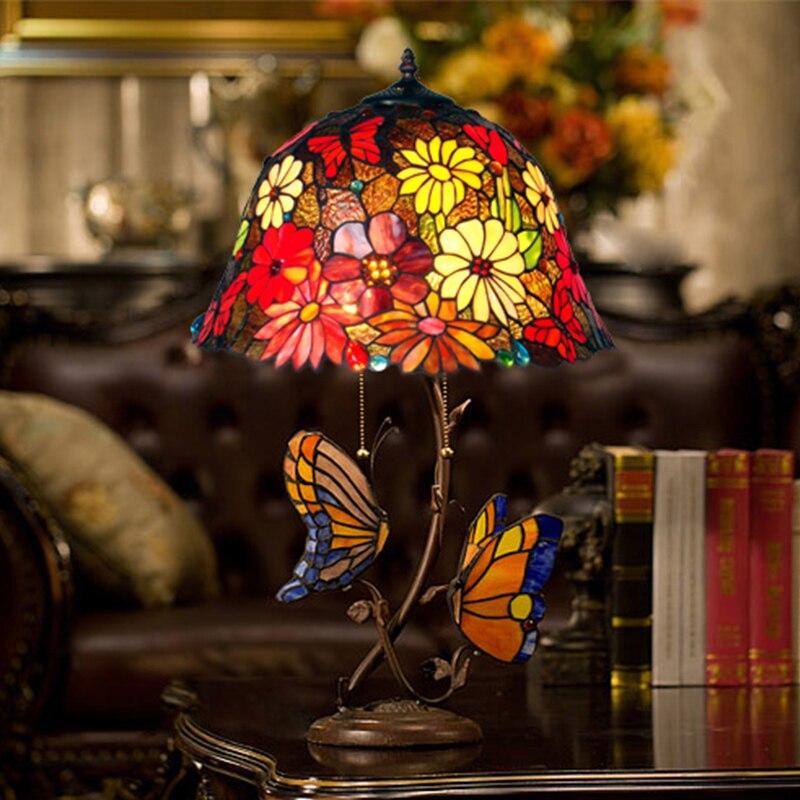 Европейский пастырской теплые романтические бабочки теплые гостиная огни ретро спальня ночники Настольные лампы lo7171