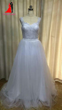 100% Real 2 Piece Wedding Dresses Tull Appliques Bridal Gown Vestido De Noiva Robe De Mariage