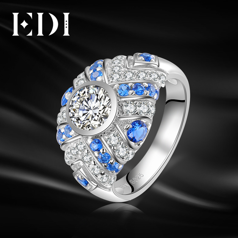 EDI Genuine 0.8CT Moissanites Diamond Natural Topaz 14K 585 White Gold Ring For Women Wedding Bands Fine Jewelry пылесборник для сухой уборки topperr ex 1