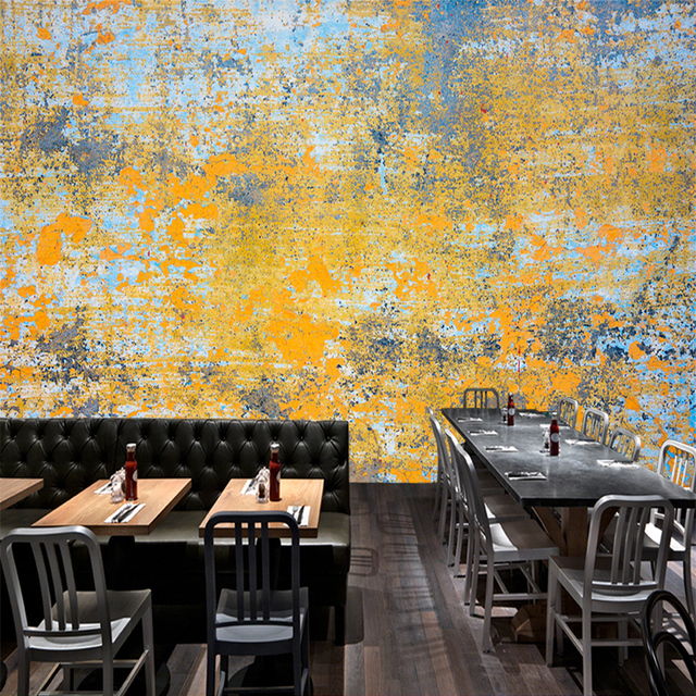 Tuya Art Vintage Industrial Yellow & Blue Rust Art Mural Wallpapar ...