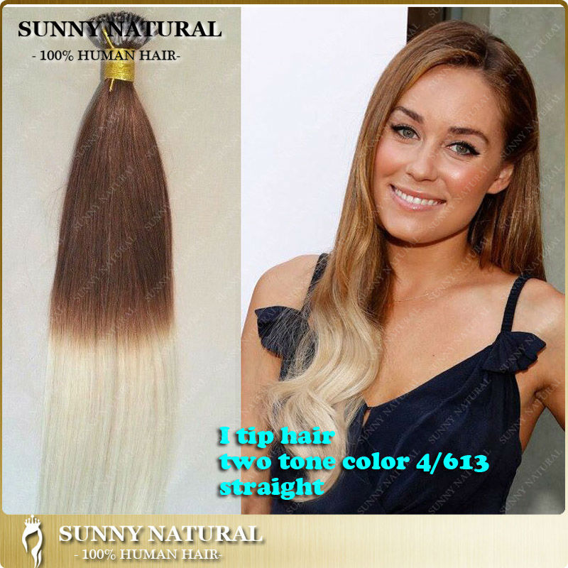 Two Tone 4613 Blonde Russian I Tip Hair Extension 1g Stand Wavy