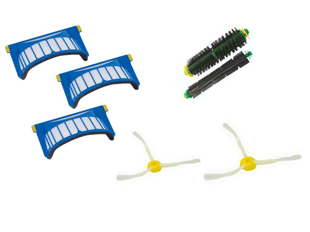 Aerovac Filter+ arm side brush+Bristle and Flexible Beater Brush for iRobot Roomba 500 Series parts for vacuum cleaners 3 arm side brush