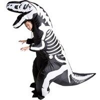 Adult Black Dinosaur Inflatable T Rex Costume Funny Party Dress Animal Skeleton Cosplay Animal Jumpsuit Halloween Costume