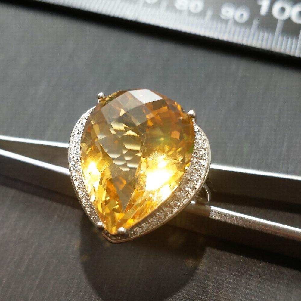 Genuine Citrine /& Diamond Gemstone 18k Gold 925 Sterling Silver Ring  Size 6 3//4