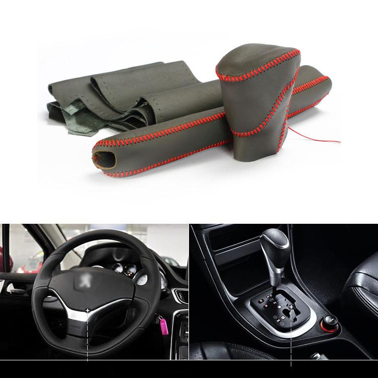 ФОТО 3pcs Top Cowhide Sew-on Genuine Leather Steering Wheel Cover For Peugeot 308 AT