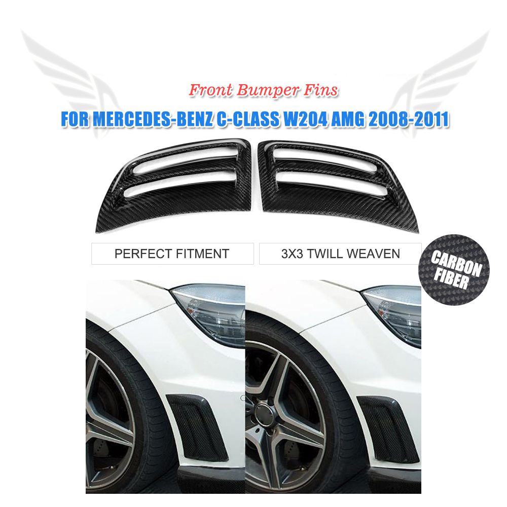Carbon Fiber Side Air Fenders Vents Fit For Benz W204 C63 AMG Bumper  2008 2009 2010 2011 2PCS/Set 4pcs set wrc bumper strip carbon fiber