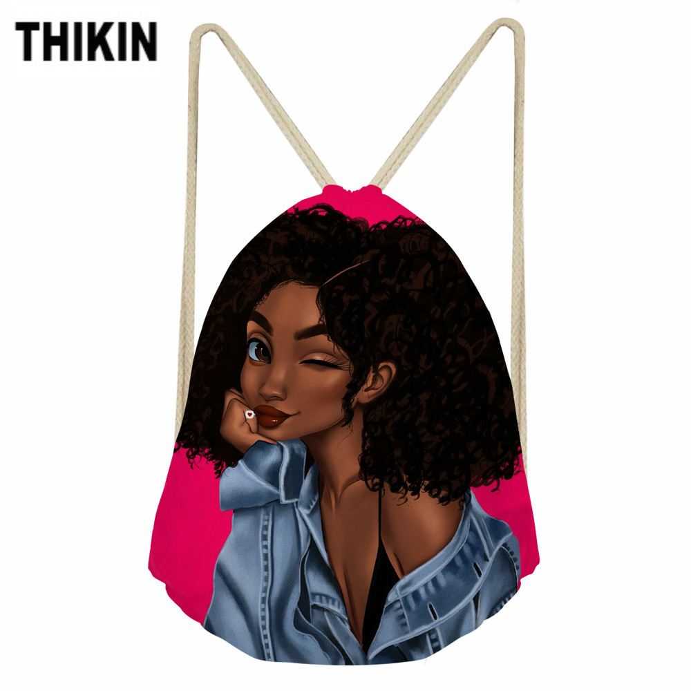 THIKIN Cute African Girl Print Casual Drawstring Bag For Kids School Backpack Teenager Girls Cute Daypack Kids Satchel Hot