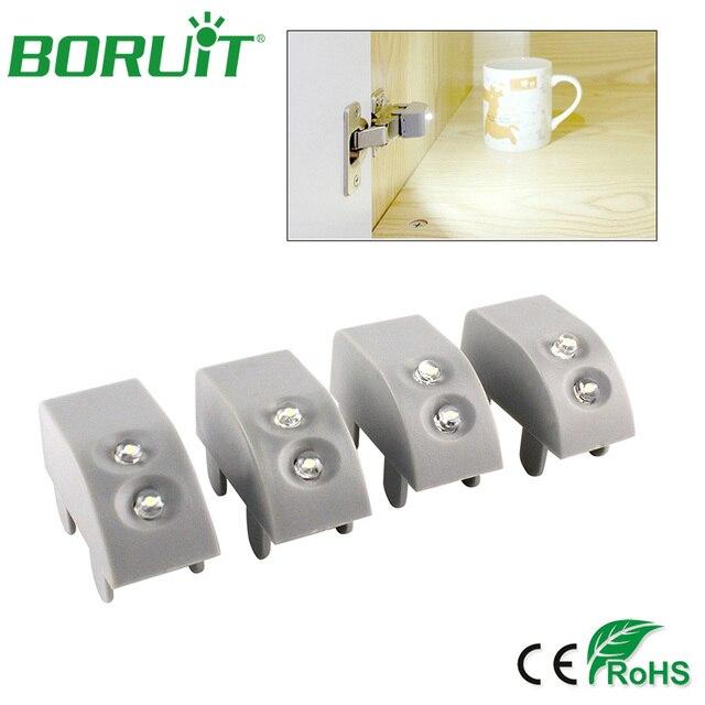 boruit 4pcs/lot kitchen cupboard cabinet hinge lights led white home