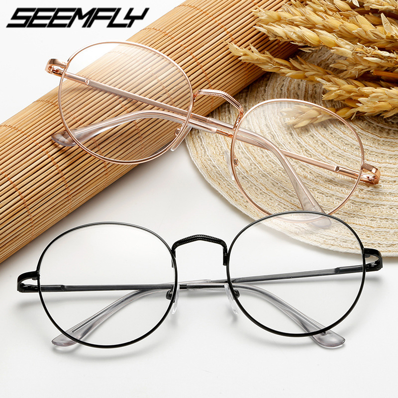 Seemfly 2020 Finished Myopia Glasses Fashion Women Men Ultralight Round Metal Frame With Degree -1 -1.5 -2.0 -2.5 -3.0 -3.5 -4.0
