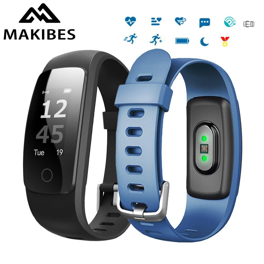 Makibes ID107 плюс HR Bluetooth Smart Браслет сердечного ритма Мониторы Мульти Спорт кардио Фитнес руководствоваться дыхание трекер
