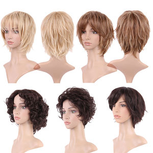Image 4 - S noilite Ombre Synthetic Hair Wigs For African American Black Women Long Wavy Brown Mixed Two Tone Wigs With Bangs