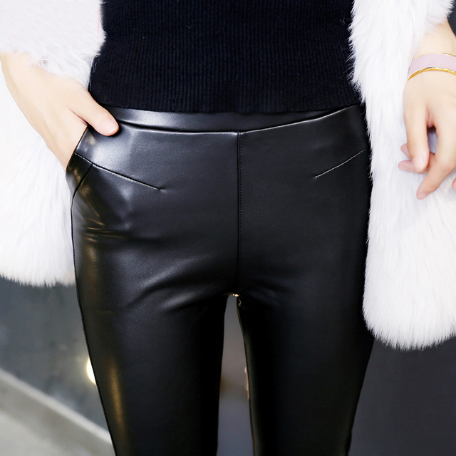 LGG068 Winter Warm Faux Leather Leggings Women Sexy Plus Size Leggings Velvet High Waist Pencil Pants High Quality Slim Leggings