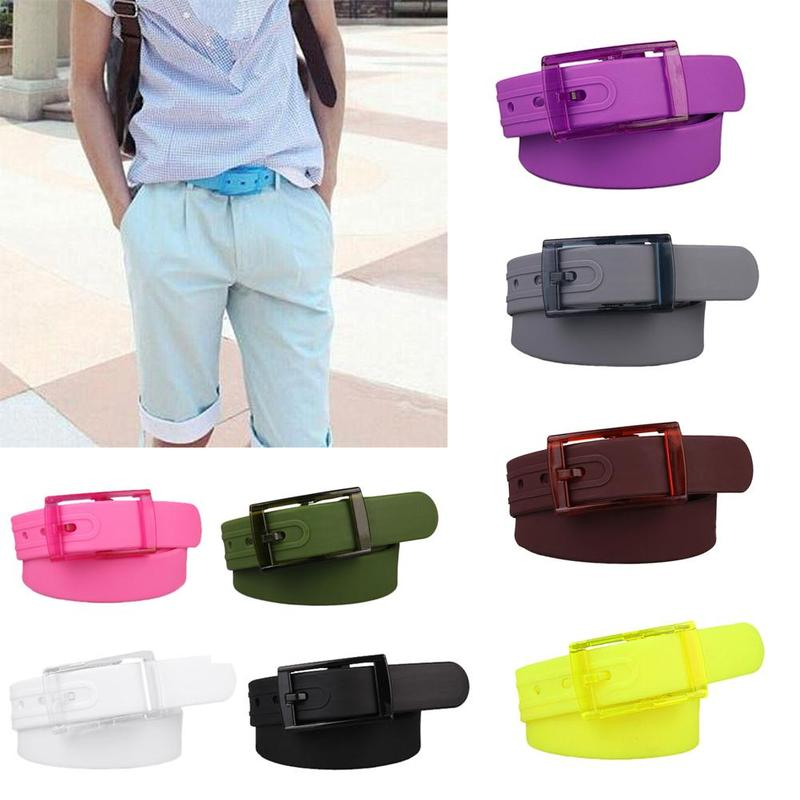 Coloful Adjustable Women Men Silicone   Belt   Jelly Rubber Plastic Buckle   Belts   Student Jeans Pants Straps Wristband Clothes Tools