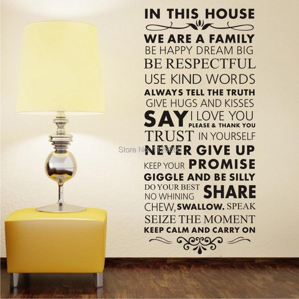online buy wholesale wall stickers family quotes from china wall in this house we are a family removable vinly wall stickers quotes and saying art wall