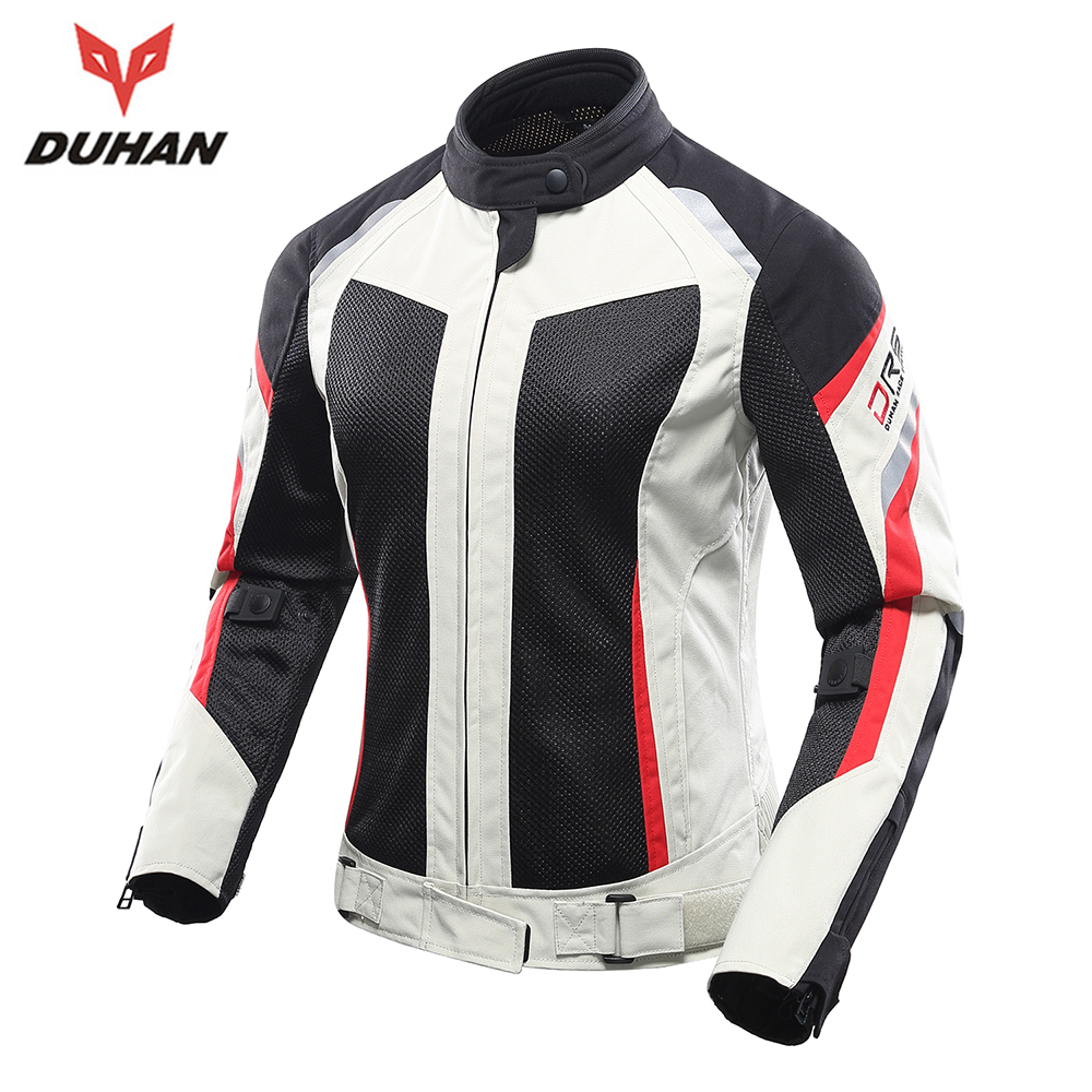 DUHAN Motorcycle Jacket Women Breathable Mesh Riding Street Touring Moto Jacket Clothing Protective Gear Motorbike Jacket Armor top good motorcycles mesh fabric jacket summer wear breathable hard protective overalls motorcycle clothing wy f607 green