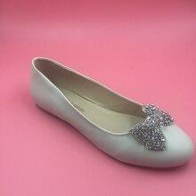 2016 echt Elfenbein Hochzeit Schuhe Kristall Perlen Bogen Flache Botas Femininas Damen Partei Schuhe Sandalen Günstige Modest Sexy Brautschuhe