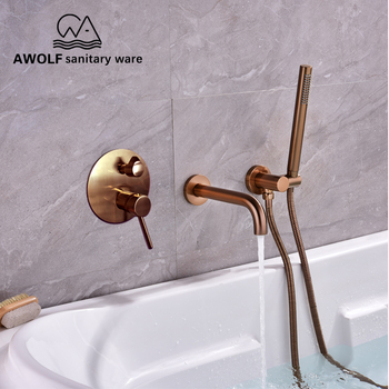 Bathtub Faucet Brushed Rose Gold  Chic Wall Mounted Bathroom Shower Faucet Spout Solid Brass 3 Pcs Mixer Tap Shower Bath AH3024C bathroom shower set brushed rose gold simplicity solid brass 8 shower head faucet mixer tap shower bath black chrome ah3023