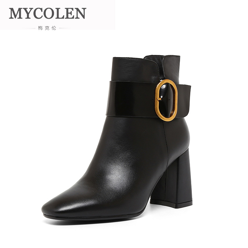 MYCOLEN 2018 New Black Leather Ankle Boots For Women Round Toe Slip On Chelsea Boots Women Fashion Street Style Boots Women enmayla new women slip on chelsea boots suede black crystal ladies ankle boots for women round toe med heels shoes woman