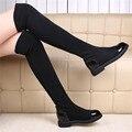 Clásico Botas Planas Mujeres Botas de Invierno Negro Rodilla Altas Botas de Tacón Ocultos Botas De Tejido Elástico
