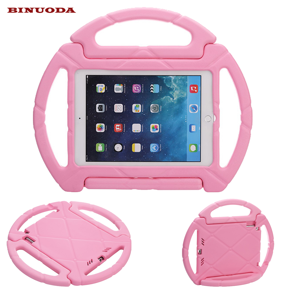 Funda for iPad Air 2 Case ShockProof Steering Wheel Stand Handle EVA Cover Kid Caes for iPad Air2 iPad6 Drop resistance hand strap shockproof stand case armor cover for ipad air 2 ipad 6 full protective stand case for ipad air2 ipad6