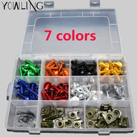 Universal 1 Sets Colorful Complete Motorcycle Fairing Bolts Nuts Screws Washer Kit Fastener Clips Screws Aluminum