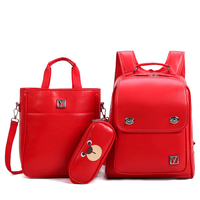 Brand 3 Pieces Sets Women Backpack Solid Waterproof PU School Bags For Teenager Girls And Boys