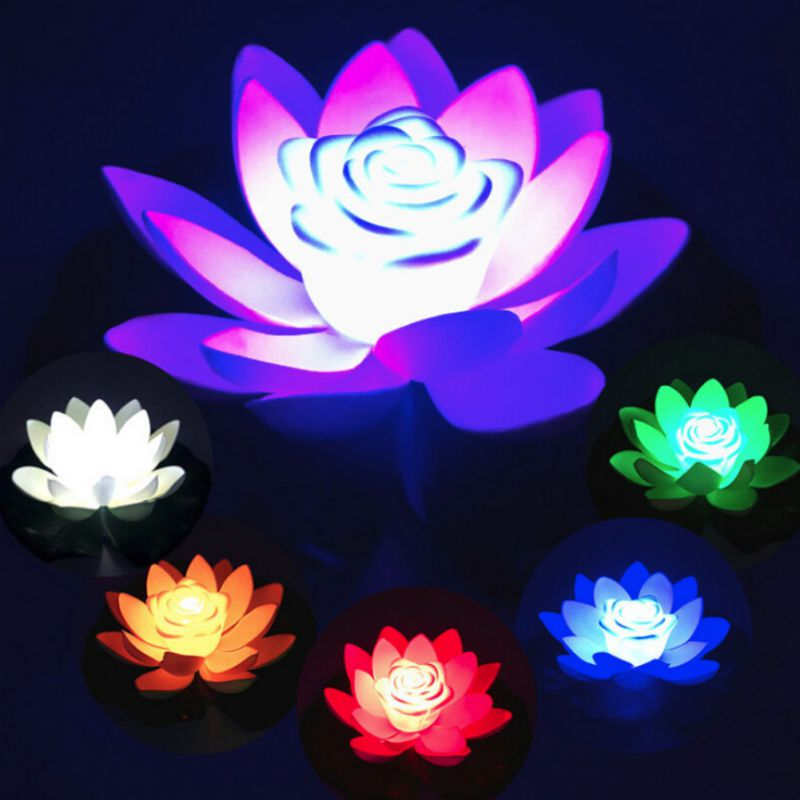 Artificial Lotus-shaped Changed Floating Flower LED Lamps <font><b>Water</b></font> Swimming <font><b>Pool</b></font> Wishing <font><b>Light</b></font> 18cm With Including Battery Flowers image