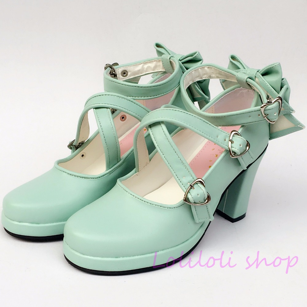 Princess sweet lolita shoes Japanese design customized special shaped shoes mint bow tie high heel 5160 lolita frilled pleated bell sleeve bow tie chiffon blouse